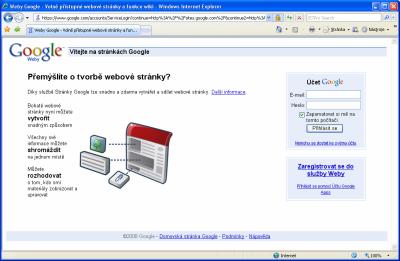 Google Sites - úvodní stránka