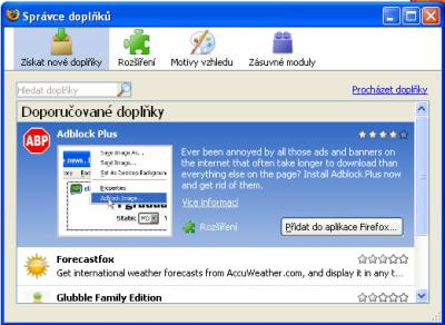 Firefox 3 - Správce doplňků