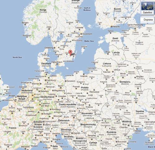 Emmaboda - Švédsko, vysílač (Google)