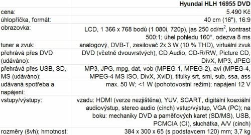 Hyundai HLH 16955 DVD parametry