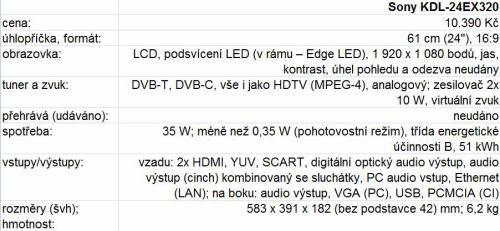 Sony KDL-24EX320 parametry