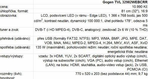 Gogen TVL 32982WEBCRR parametry