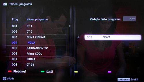 Sony KDL-32EX520 třídění kanálů