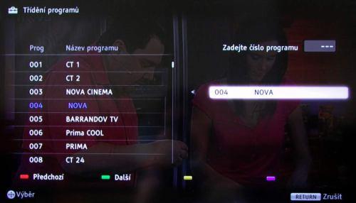 Sony KDL-46NX720 třídění kanálů