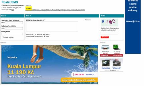 Vodafone SMS obložené reklamou
