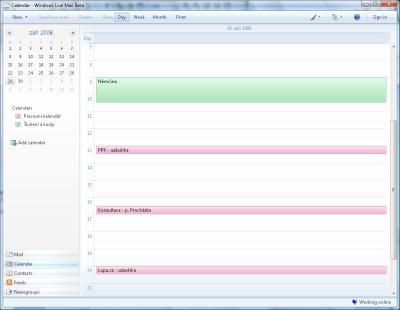 Windows Live Mail - kalendář